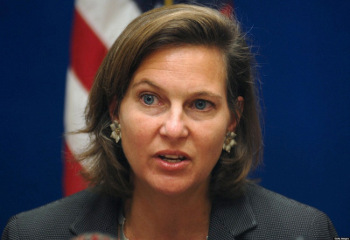 Permanent Representative of the North Atlantic Treaty Organization (NATO), Victoria Nuland, addresses a press confrence at the US Embassy in Kabul, 25 September 2007.  Victoria Nuland, Permanent Representative of NATO and Karen P. Tandy, Administrator of the Drug Enforcment Administration (DEA) are in the Afghan capital on an official visit.               AFP PHOTO/MASSOUD Hossaini (Photo credit should read MASSOUD HOSSAINI/AFP/Getty Images)